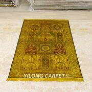 Yilong 4and039x6and039 Golden Handmade Silk Carpet Antique Washed Classic Area Rug Y381a