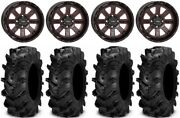 System 3 St-4 14 Wheels Red 27 Cryptid Tires Kawasaki Teryx Mule