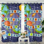 Space World Maze Play Game Kids Earth Window Living Room Bedroom Curtains Drapes