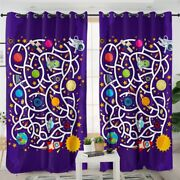 Rocket Maze Play Game Kids Space Window Living Room Bedroom Curtains Drapes