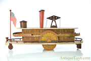 """Reeds """"floating Palace"""" Wooden River Paddle Boat Side-wheeler Push/pull Toy"""