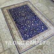 Yilong 4and039x6and039 Blue Handknotted Silk Area Rug Indoor Kid Friendly Carpet H305b