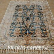 Yilong 4.3and039x6.2and039 Handknotted Silk Area Rug Oriental Classic Luxury Carpet 1713