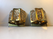 Danish Wall Lamps Brass And Glass By Vitrika Vintage 1960s Set Of 2 Gold Crystal