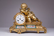 Antique Original 19th Rare Bronze French Gold Plated Clock With Cupid 30 Cm