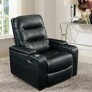 Lifestyle Solutions Theater Recliner With Usb In Black Faux Leather Padded Arms
