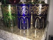 👀3 Rare Gilded Engraved St Louis Style Rabat Tea Glass Cut To Clear Pre 1950🎁
