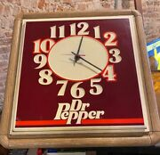 Vintage 1960and039s Dr Pepper Soda Large Lighted Advertising Wall Clock Sign Light