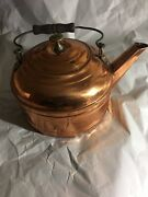 Revere Vintage Large Solid Copper Teapot Kettle Dia. 9.25'' 7'' Tall Preowned