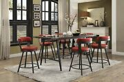 Glass Inset Counter Height Dining Table And 6 Red Swivel Pub Chairs Furniture Set