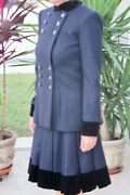 Nwot Suit Navy-black Wool Jacket And Pleated Skirt Military 34/38