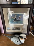 Dicks Unlimited Federal Duck Stamp Print W/ Matching D.u. Decoy Gorgeous Pair
