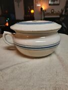 Vintage Red Wing Chamber Pot With Lid Clean In Very Good Condition.