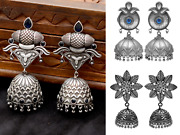 Indian Traditional Jhumka Earrings Wholesale Lot Of 3 Silver Oxidised Jewellery