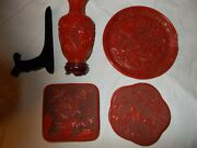 Cinnabar Lacquer Pottery Two 5 Boxes One 8 Vase One 8 Plate China Asia