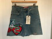 Levi's Women's Vtg Deconstructed Skirt Sz 27 Red Tab Patches Embellished Cute