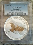 Pcgs Ms70 1 Oz Silver 2008 Gilded Year Of Mouse 1 Australia Series I ● Pop 1 ●