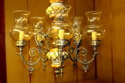 Large Parisian Vintage Silver And Porcelain Chandelier Ceiling Lamp 6 Arms French