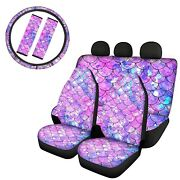 Fish Scales Car Front Rear Seat Cover /seat Belt Cover+steering Wheel 7/9pcs Set