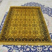 Yilong 4and039x6and039 Gold All Over Handmade Silk Rugs Antique Vintage Carpet 068b