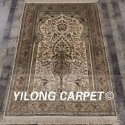Yilong 4and039x6and039 Handknotted Silk Carpet Tree Of Life Luxury Area Rug L129a
