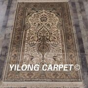 Yilong 4'x6' Handknotted Silk Carpet Tree Of Life Luxury Area Rug L129a