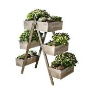 27 In. W X 28 In. H Flowers And Plants Foldable Wooden Plant Stand W/6 Seed Boxes