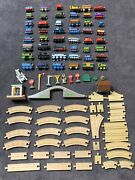 Thomas The Train Tank Engine Lot Of 49 Wooden Diecast Trains + Tracks And More
