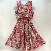 Charter Club Luxe Bohemian Womens Dress Multicolor Paisley Belted Plus 2x New
