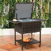 Outdoor Portable Rattan Cooler Cart Trolley - New Cy