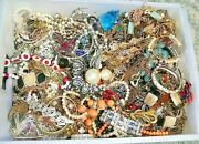 7 Lb Pounds Huge Lot Jewelry Vintage Now Junk Art Craft Box Full Brooch Necklace