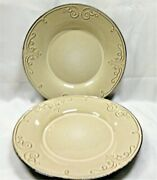 Gibson Design Elite Couture Gid338 Dinner Plates X2 Brown Embossed Scroll On Tan