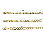 14k Yellow Gold Solid Figaro Link Chain 4.5mm-7mm Menand039s Women Necklace 20-30