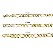 14k Yellow Gold Solid Figaro Link Chain 7mm-9.5mm Menand039s Women Necklace 20-30