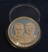 1988 Election George Bush And Michael Dukakis 5oz .999 Silver Coin - Free Ship Us