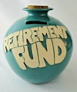 Art Pottery Retirement Fund Jar Bank Teal Blue Large Cork Gift Coins Coin Slot