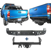 Fit 05-15 Toyota Tacoma Pickup Steel Rear Bumper + 2 Inch Trailer Hitch Receiver