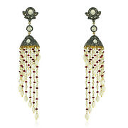 53.14ct Natural Pearl Beads Dangle Earrings Ruby 14k Gold 925 Silver Jewelry
