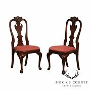 Stickley Colonial Williamsburg Style Pair Mahogany Queen Anne Side Chairs