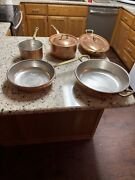 Ruffoni Copper Cookware Made In Italy Lot Of 5 Pans With 2 Lids.