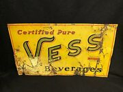 Vintage Antique Vess Certified Pure Beverages Whistle Company Sign Advertising