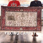 Yilong 3and039x5and039 Handmade Silk Tapestry Antique Carpet Animal Scene Floor Rug H19a