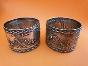 Set Of 2, Pair, Antique French Sterling Silver Paul Bouton And Cie Napkin Rings.