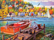 Framed Canvas Print Wall Art Giclee Country Lakeview Pier Beach Boat Fishing