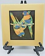 1980and039s Barbara Wallace Topsy Turvy Bird Parrot Ceramic Square Wall Tile 7.75