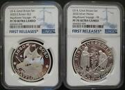 Us And Great Britain Uk 2 Pounds 2020 Silver Proof Coin Mayflower Voyage Ngc Pf70