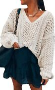 Theenkoln Womenand039s Casual Sweaters Off Shoulder Solid Sexy V-neck Crochet Knitted