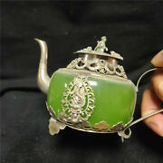 Antique Dragon Pattern Wine Pot Agate Jade Inlaid Kettle Teapot Collect Ornament