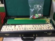 Vintage Mah Jong Game Set W/164 Tiles Racks Xtra Pcs And Carrying Brief Case