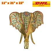 1x Wood Carving Golden Elephant Head Stained Glass Wall Decoration Hang Flap Art